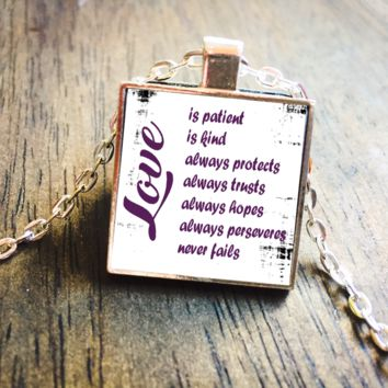 1 Corinthians 13 Love Is Patient Square Pendant Necklace