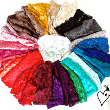 Stretchy Wide Sheer Lace Headband Gym Hairband Yoga Headband with Tapered Cut & Scalloped Edge - Women's Fashion Hair Accessories Pick Color