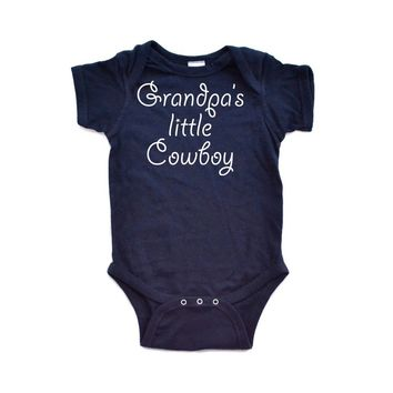 Apericots Grandpa s Little Cowboy Country Boy Short Sleeve Baby Bodysuit