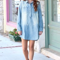 Distressed Washed Denim Pearl Snap Tunic Dress