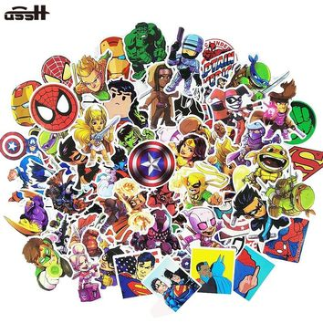 100 Pcs Marvel The Avengers Cartoon Sticker Waterproof For Laptop Moto Skateboard Luggage Guitar Furnitur Decal Toy Stickers