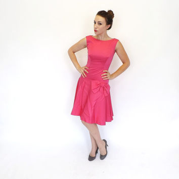 Vintage Claralura 1960s Hot Pink Satin Dress Drop Waist Cocktail Fress 60s Flapper Dress Prom Gown Couture Party Dress Mad Men Wiggle Dress