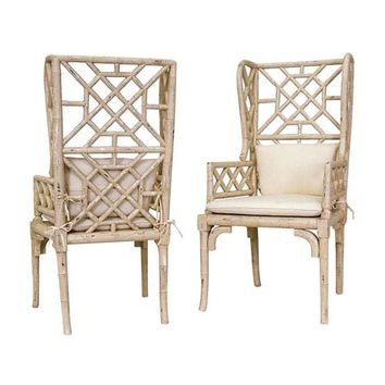 GuildMaster Handpainted Bamboo Wing Back Cream Chairs Set Of Two 657530pcr |