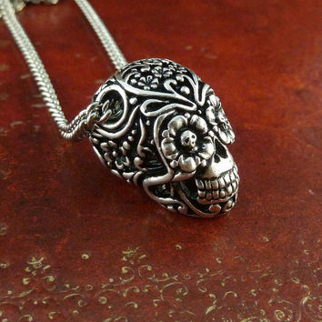 "Day of the Dead Necklace Antique Silver Sugar Skull Pendant on 18"" Antique Silver Chain"