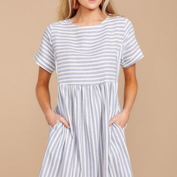 Living In The Moment Blue Striped Dress