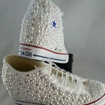 DCKL9 Wedge Bridal Converse- Wedding Converse- Bling & Pearls Custom Converse Sneakers- Pers