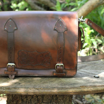 Leather Messenger Bag by RCSmithLeatherworks on Etsy