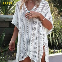 2017 New Bathing Suit Cover Ups Knitted Pareo Beach Hollow Sexy Swimsuit Cover Up Beach Tunic Plage Beachwear Cover-Ups TS038