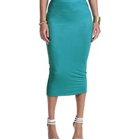 Promo- Mint Faux Suede Midi Pencil Skirt
