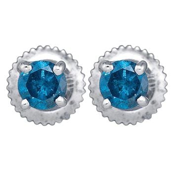 10kt White Gold Women's Round Blue Color Enhanced Diamond Solitaire Stud Earrings 1-4 Cttw - FREE Shipping (US/CAN)