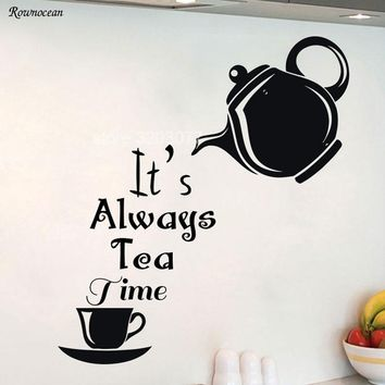 Modern Home Decor Plane Wall Sticker Alice In Wonderland Wall Decal It's Always Tea Time Quote Tile Adhesive Kitchen Black K-06