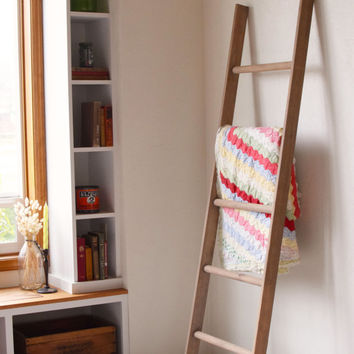 Large rustic blanket storage decorative wooden ladder, Rustic Librarians Ladder, perfect quilt rack, blanket rack or decorative piece