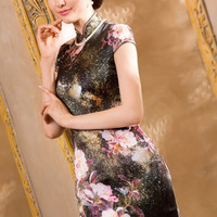 Print Floral Silk Event Dress Qipao