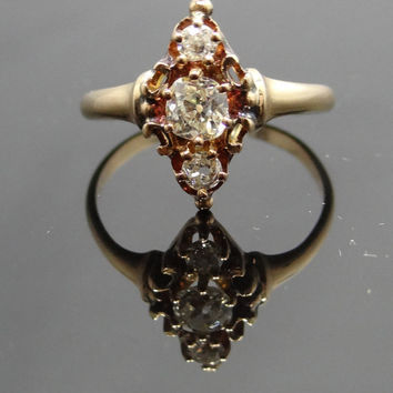 Gorgeous 10K Rose Gold Victorian Three Old Mine Cut Diamond Ring - RGDI198P
