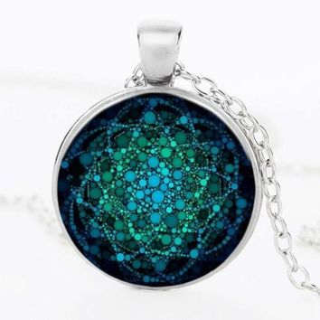 Flower of Life Glass Pendant Necklace