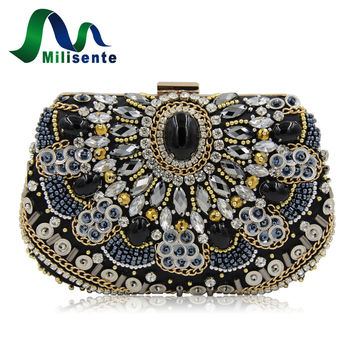 Milisente New Women Vintage Beaded Bags Designer Bead Pearl Evening Purse Shoulder Chain Crossbody Handbags Silver