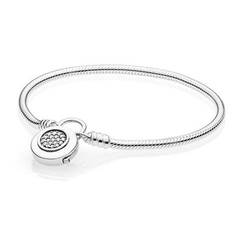 925 Sterling Silver Bracelet for Women MOMENTS Smooth Bracelet with Signature Padlock fit Pandora Beads Charm Pendant Jewelry