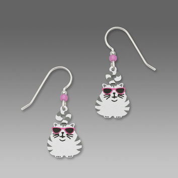 Sienna Sky Earrings - Fat Cat with Stripes and Glasses