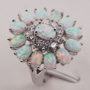 Flower White Fire Opal 925 Sterling Silver Gemstone Jewelry Ring Size 6 7 8 9 10 11 [9833380175]