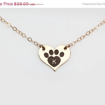 Egraved Heart Necklace, Dog Paw, Yellow or Rose Gold, Custom, Personalized, Love, Valentines Day, Charm Gift