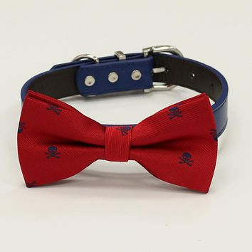 Navy Red dog bow tie collar, Skull bow, Red leather dog collar, Navy leather collar, Black, Gray, Brown, Orange, copper, Gray dog collar