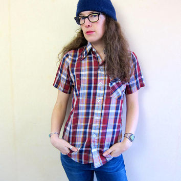 Vintage Levis Shirt Plaid Button Up Tee Shirt 80s Tomboy Shirt Red Blue 70s Boyfriend Shirt 80s Short Sleeve Top Hipster Shirt Womens Small