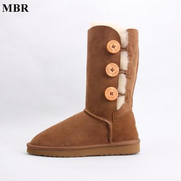 MBR sheepskin leather suede winter snow boots for women real sheep fur wool lined winter shoes high quality brown black 35-44