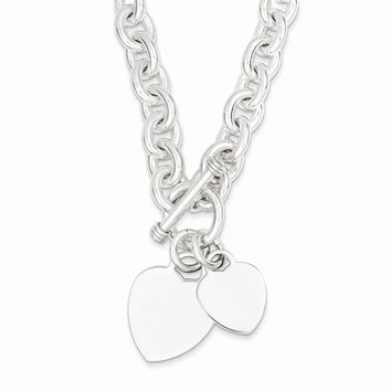 Sterling Silver 9mm Engraveable Heart Disc on Fancy Link Toggle Bracelet