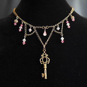 Unique Dangling Chain Necklace with Skeleton Key Pendant & Swarovski Crystal Beadwork, Sparkling Pinks and Antique Gold Tones