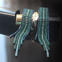 Colorful Rhinestone Tassels Long Hanging Chain Earring