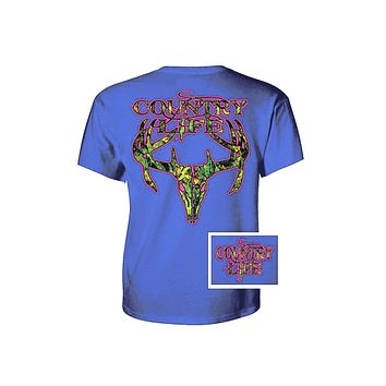 Sale Country Life Outfitters Royal & Pink Camo Realtree Deer Skull Head Hunt Vintage Bright T Shirt