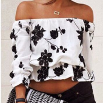 Fashion Off Shoulder Long Sleeve Flower Print Loose T-shirt Tops