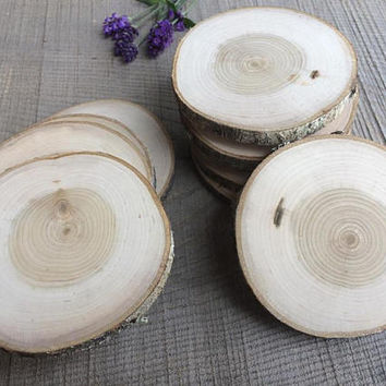 """5 Natural Wood Round Hanging Tags 3.1-3.5"""", 8-9cm, Pack of Natural Wood Hanging Circles, Natural Bird Cherry Wood Hanging Slices"""