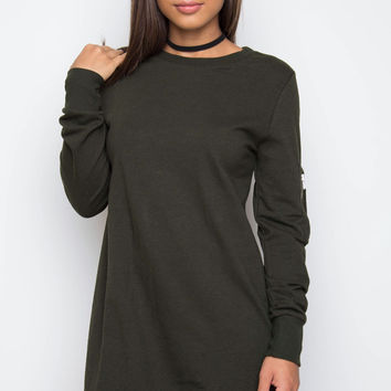 Olympia Sweater Dress - Olive