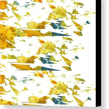 Abstract Acrylic Painting Broken Glass Yellow Canvas Print