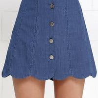 Sheltered Cove Blue Chambray Skirt