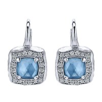 Sterling Silver Rock Crystal, White Mother of Pearl and Turquoise Leverback Earrings