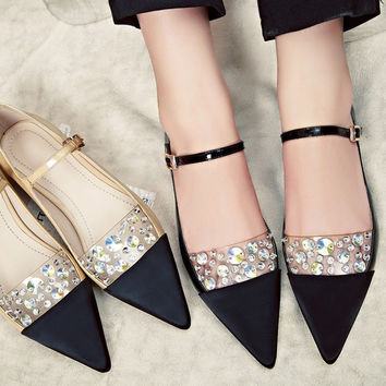 Pointed Toe Leather With Heel Flat Rhinestone Shoes [4920474820]