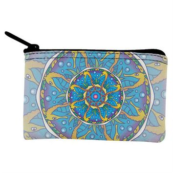 DCCKJY1 Mandala Trippy Stained Glass Seahorse Coin Purse