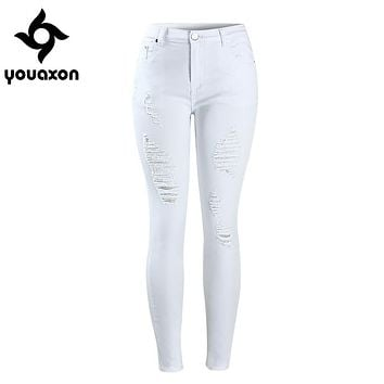 2067 Youaxon Women`s Distressed Curvy White Mid High Waist Stretch Denim Pants Ripped Skinny Jeans For Woman Jean