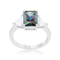 Sterling Silver Mystic Topaz and Trillion Cut CZ Ring