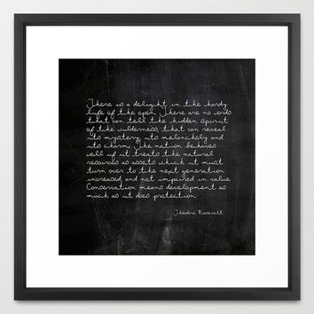 Typography Print - Theodore Roosevelt Quote - Nature Quote - Typography - Black and White - Chalkboard Print - Inspirational