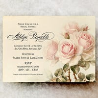 Vintage Bridal Shower Invitation - Shabby Chic Bridal Shower, roses bridal shower, Wedding Shower, Cottage Chic Bridal Shower