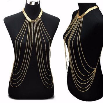 Gold Sexy Body Chain Necklace
