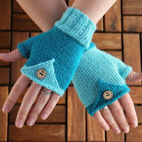 Fingerless Mittens, handknit in light and dark blue from pure Alpaca yarn, wrist warmers, photographers mittens for her or him