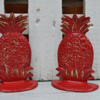 Pineapple bookends brass upcycled red distressed bright housewares bookcase decor