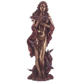 Aphrodite (Venus) Greek Roman Goddess of Love Statue, Real Bronze Powder Cast 12-inch Sculpture