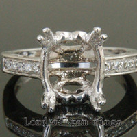 9x11mm Oval Cut 14K White Gold H/SI Diamonds Engagement Filgree Semi Mount Ring