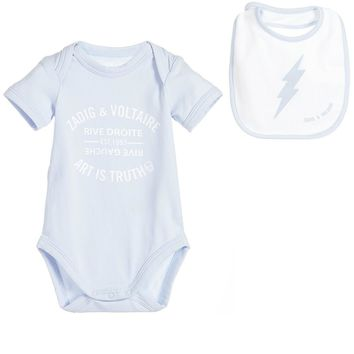 Zadig & Voltaire Baby Blue Romper with Bib Gift Set