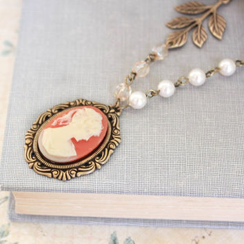 Coral Lady Cameo Necklace Cameo Pendant Ivory Branch Leaves Victorian Romantic Jewellery Cream Pearl Chain Romantic For Her